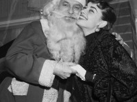 Audrey Hepburn Cheek to Cheek with Santa Claus